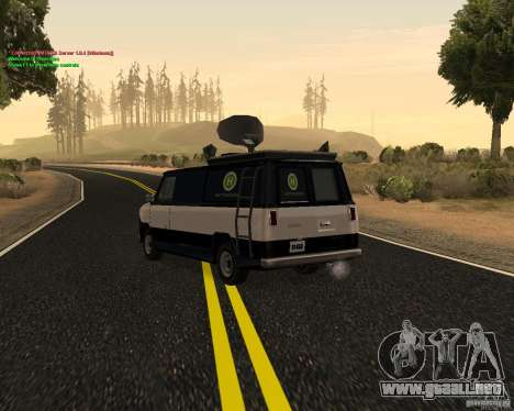 New News Van para GTA San Andreas vista posterior izquierda
