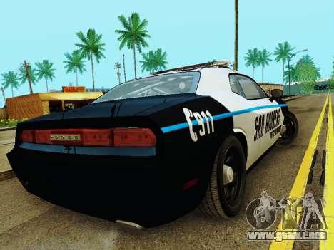 Dodge Challenger SRT8 2010 Police para la visión correcta GTA San Andreas