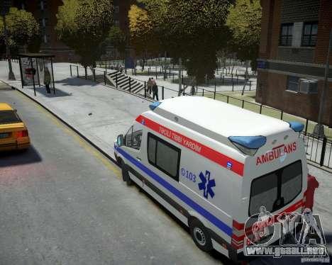 Mercedes-Benz Sprinter Azerbaijan Ambulance v0.2 para GTA 4 Vista posterior izquierda