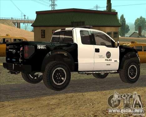 Ford Raptor Police para GTA San Andreas vista posterior izquierda