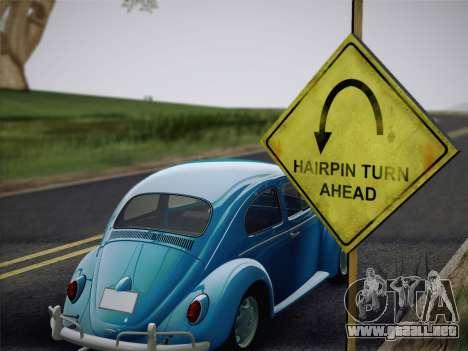 Volkswagen Beetle 1967 V.1 para GTA San Andreas vista hacia atrás