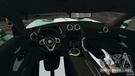 SRT Viper GTS 2013 para GTA 4 vista hacia atrás