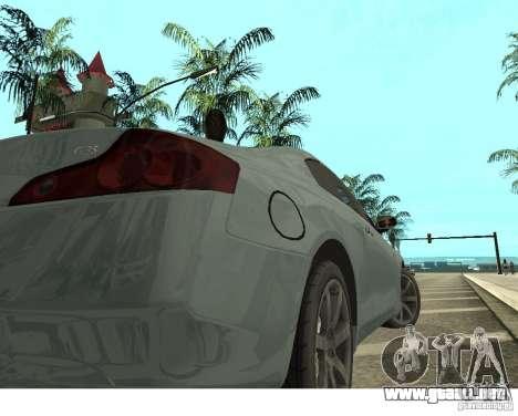 Infiniti G35 Coupe para GTA San Andreas vista posterior izquierda