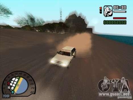 Humo saliendo debajo de las ruedas, como NFS Pro para GTA San Andreas tercera pantalla