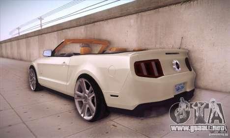 Ford Mustang 2011 Convertible para GTA San Andreas vista posterior izquierda