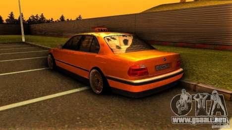 BMW 730i Taxi para GTA San Andreas vista posterior izquierda