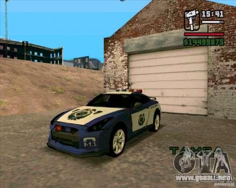 Nissan GTR35 Police Undercover para GTA San Andreas vista posterior izquierda