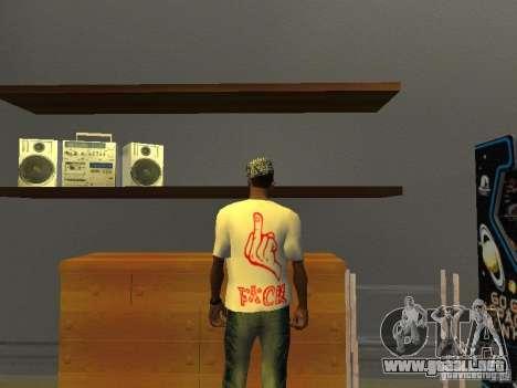 Camiseta del Gangsta para GTA San Andreas segunda pantalla