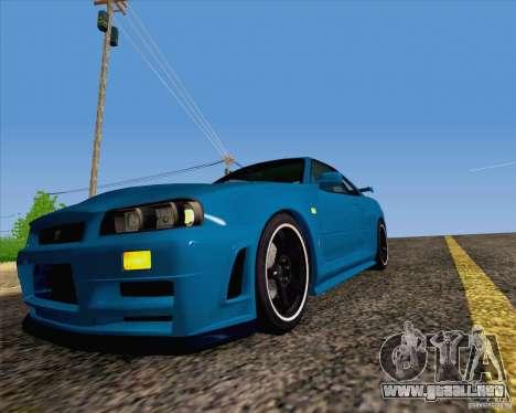 Nissan Skyline R34 Z-Tune V3 para GTA San Andreas vista hacia atrás