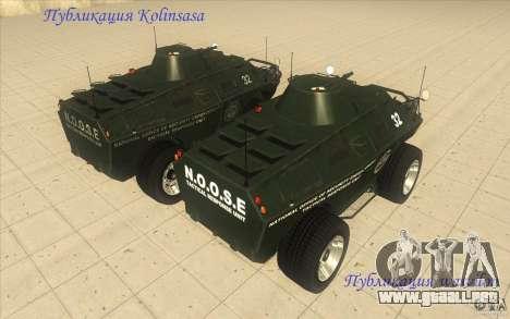 Vehículos blindados de la GTA 4 TBOGT Original c para GTA San Andreas vista hacia atrás