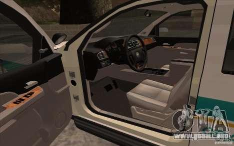 Chevrolet Avalanche Orange County Sheriff para la visión correcta GTA San Andreas
