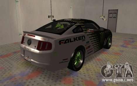 Ford Mustang GT Falken Monster 2010 v2.0 para GTA San Andreas vista posterior izquierda