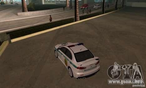 Mitsubishi Lancer Evolution X policía de Kazajis para visión interna GTA San Andreas