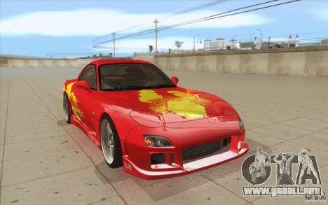 Mazda RX-7 - FnF2 para GTA San Andreas vista hacia atrás