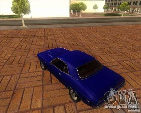 Dodge Challenger RT Hemi para GTA San Andreas vista posterior izquierda