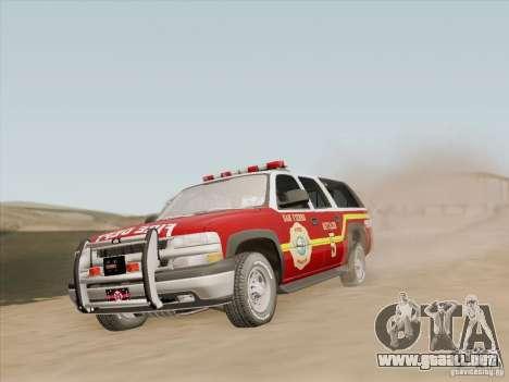 Chevrolet Suburban SFFD para las ruedas de GTA San Andreas