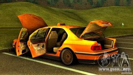 BMW 730i Taxi para la vista superior GTA San Andreas
