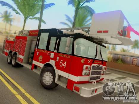Pierce Tower Ladder 54 Chicago Fire Department para GTA San Andreas vista hacia atrás