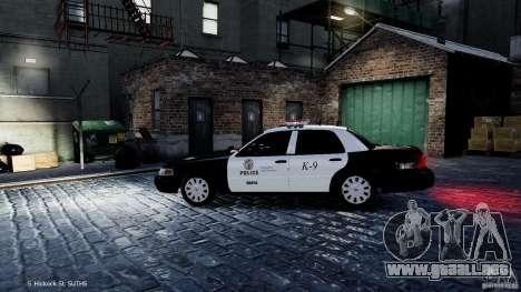 Ford Crown Victoria CVPI-K9 V6.9A-LAPD-ELS para GTA 4 left