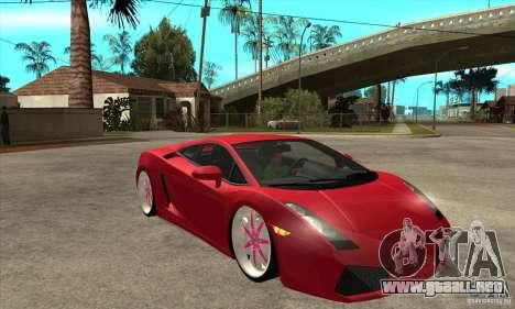 Lamborghini Gallardo White & Pink para GTA San Andreas vista hacia atrás