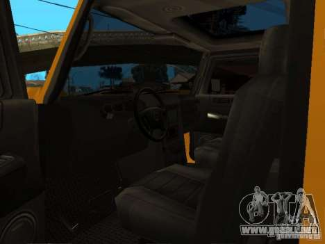 Hummer H2 4x4 diesel para GTA San Andreas vista hacia atrás