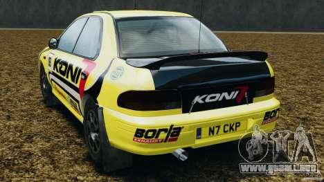 Subaru Impreza WRX STI 1995 Rally version para GTA 4 Vista posterior izquierda