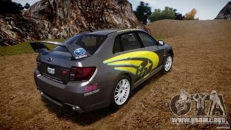 Subaru Impreza WRX STi 2011 Subaru World Rally para GTA 4 Vista posterior izquierda