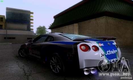 Nissan GTR R35 Tuneable para GTA San Andreas vista hacia atrás