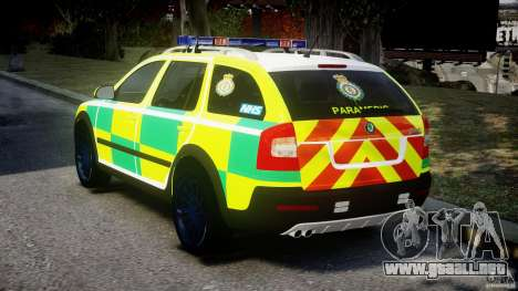 Skoda Octavia Scout Paramedic [ELS] para GTA 4 Vista posterior izquierda