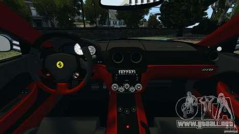 Ferrari 599 GTO 2011 para GTA 4 vista hacia atrás