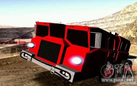 Versión estrecha Civil MAZ-7310 para la vista superior GTA San Andreas