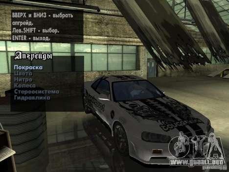 Nissan Skyline GT-R34 V-Spec para la visión correcta GTA San Andreas