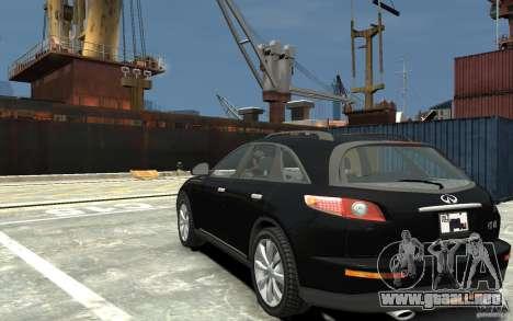 Infiniti FX45 para GTA 4 Vista posterior izquierda