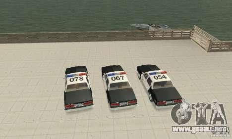 Chevrolet Caprice Interceptor 1986 Police para visión interna GTA San Andreas