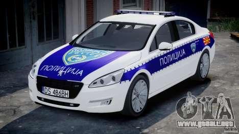 Peugeot 508 Macedonian Police [ELS] para GTA 4 vista hacia atrás