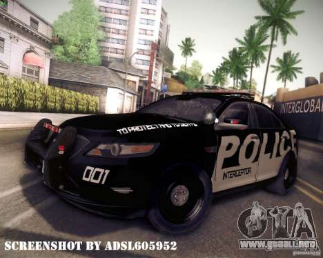 Ford Taurus Police Interceptor 2011 para GTA San Andreas vista posterior izquierda