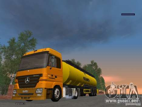 Trailer de Mercedes-Benz Actros Rosneft para GTA San Andreas vista hacia atrás