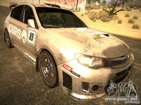 Subaru Impreza Gravel Rally para GTA San Andreas vista posterior izquierda