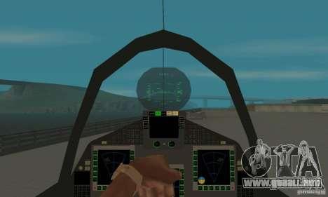 Eurofighter 2010 para GTA San Andreas vista hacia atrás