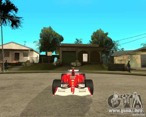 Ferrari F1 para GTA San Andreas vista hacia atrás