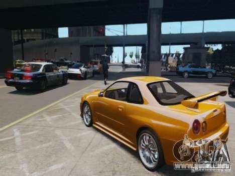 Nissan Skyline GT-R R34 Fast and Furious 4 para GTA 4 Vista posterior izquierda