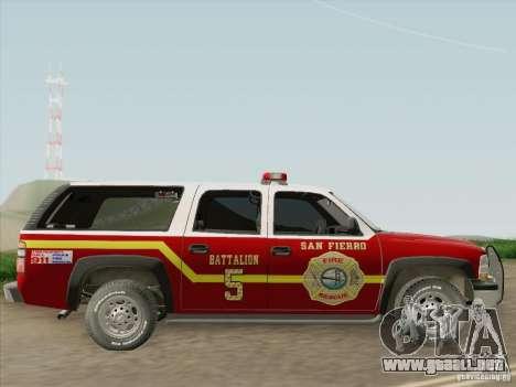Chevrolet Suburban SFFD para GTA San Andreas vista hacia atrás