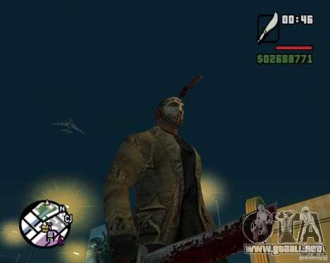 Jason Voorhees para GTA San Andreas sucesivamente de pantalla