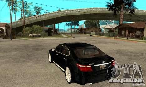 Lexus LS460L 2010 para GTA San Andreas vista posterior izquierda