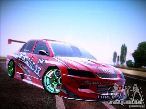 Mitsubishi Lancer Evolution 9 Hypermax para la visión correcta GTA San Andreas