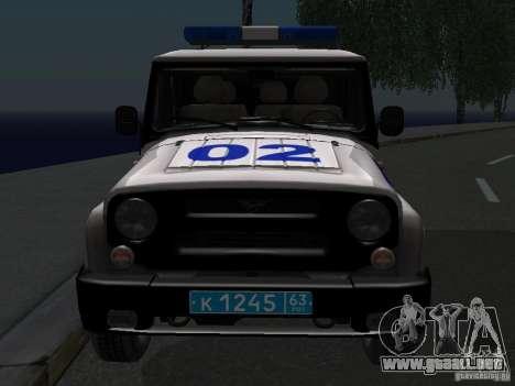 Policía 315195-UAZ Hunter para GTA San Andreas vista hacia atrás