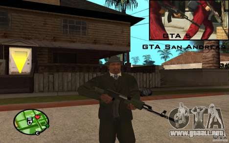AK-47 con un silenciador de GTA 5 (Final) para GTA San Andreas tercera pantalla