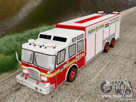 E-One F.D.N.Y Fire Rescue 1 para GTA San Andreas vista hacia atrás