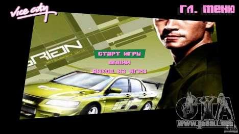 2 Fast 2 Furious Menu Brian para GTA Vice City