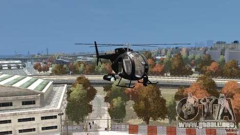 AH-6 LittleBird Helicopter para GTA 4 vista hacia atrás